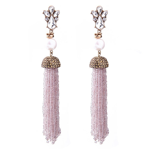 Deco Glam Pink Beaded Tassel Earrings