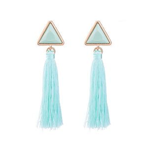 Easter Colors Tassel Triangle Earrings