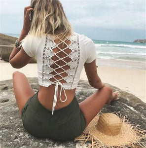 Back Tie Lace Top
