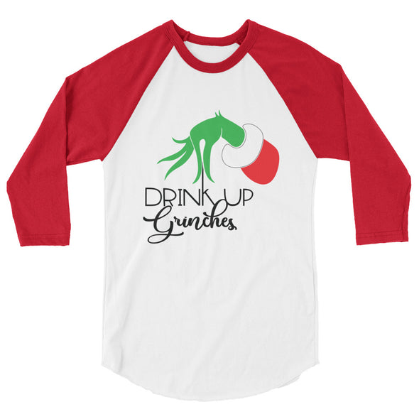 Drink up Grinches Christmas Baseball Tee