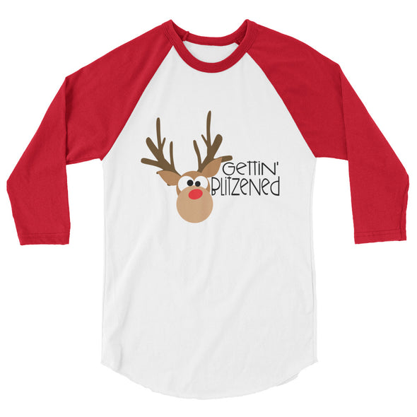 Gettin Blitzened Christmas Baseball Tee
