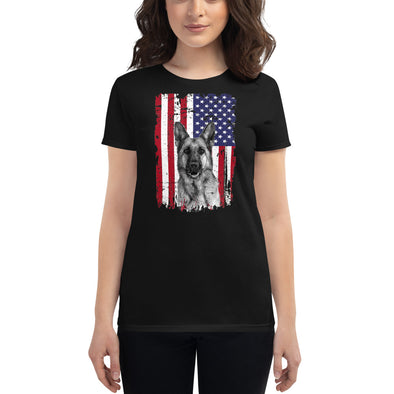 German Shepherd and American Flag T-Shirt