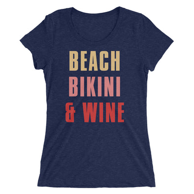 Beach Bikini & Wine T-Shirt for Women