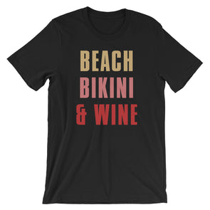 Beach Bikini & Wine Unisex T-Shirt
