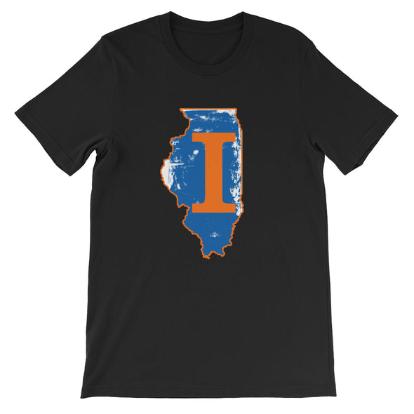 Illinois Map with Letter I Printed - Short-Sleeve Unisex T-Shirt