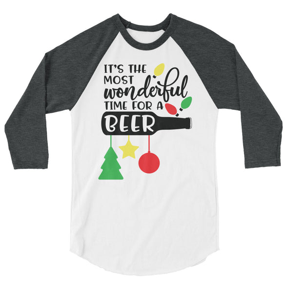 It's The Most Wonderful Time For a Beer Christmas Baseball Tee