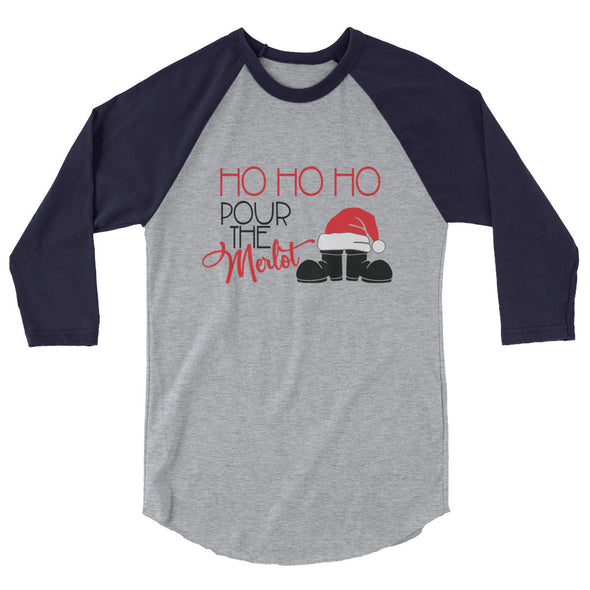 Ho Ho Ho Pour The Merlot Christmas Baseball TShirt