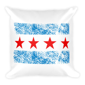 City of Chicago Flag Printed Square Throw Pillow