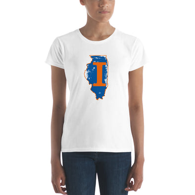 "Illinois Map with Letter ""I"" Printed Women's short sleeve t-shirt"