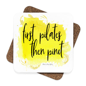 First Pilates Then Pinot (White) Square Hardboard Coaster Set - 4pcs