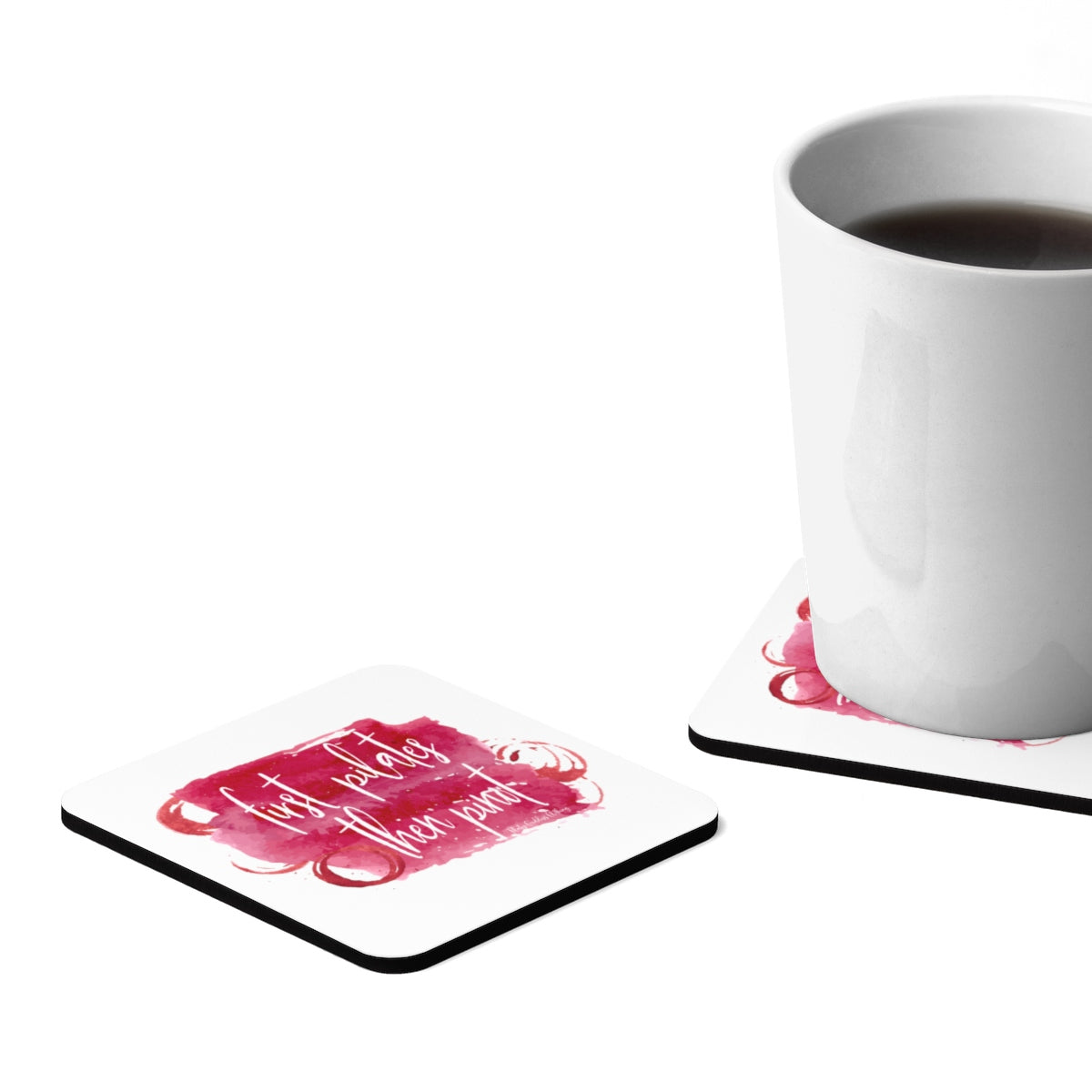 First Pilates Then Pinot (Red) Square Hardboard Coaster Set - 4pcs