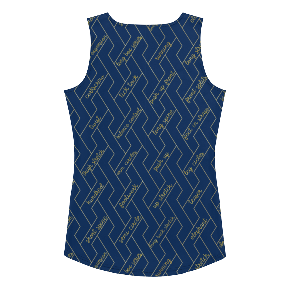 Navy & Gold Reformer Exercises All Over Tank Top