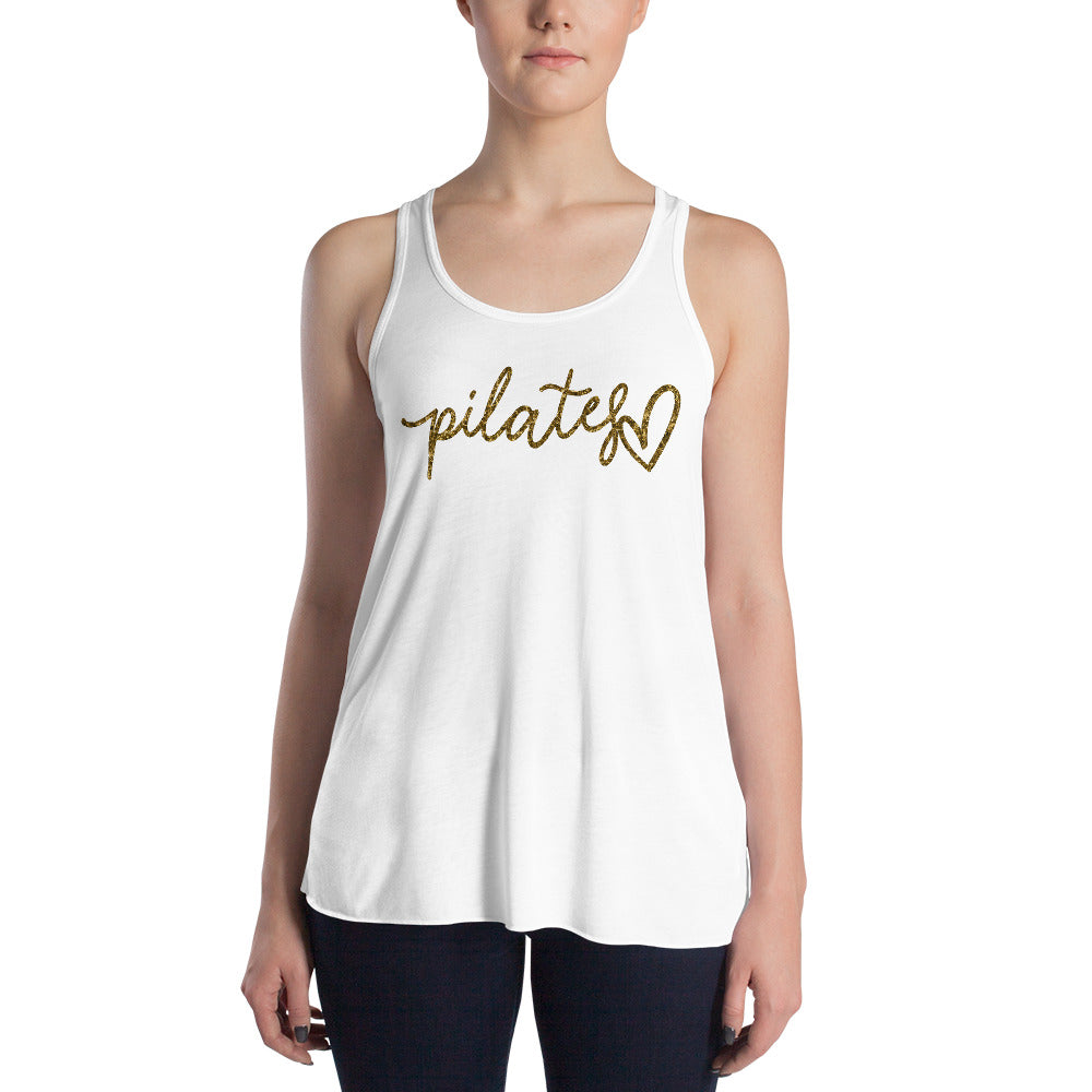 White Gold Script Heart Danielle Findlay Women's Flowy Racerback Tank