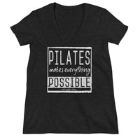 Pilates Makes Everything Possible Women's Fashion Deep V-neck Tee