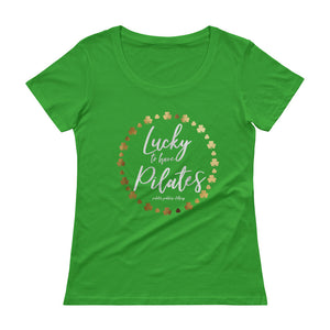 Lucky to Have Pilates Green Ladies' Scoopneck T-Shirt