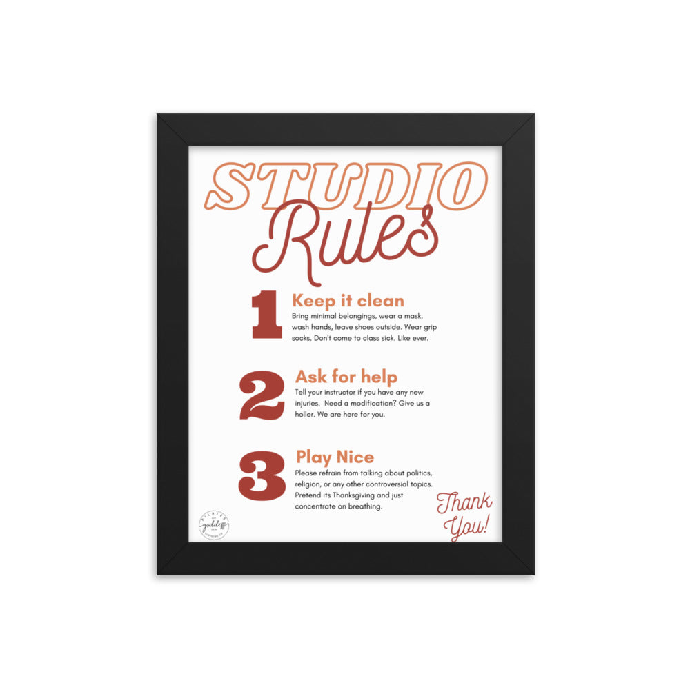Pilates Studio Rules Red Framed poster