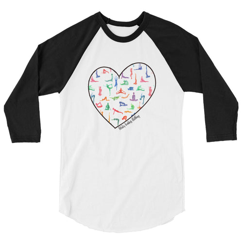 Watercolor Yoga Heart 3/4 sleeve raglan shirt