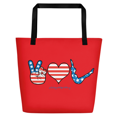 Peace, Love, Pilates! American Flag Beach Bag