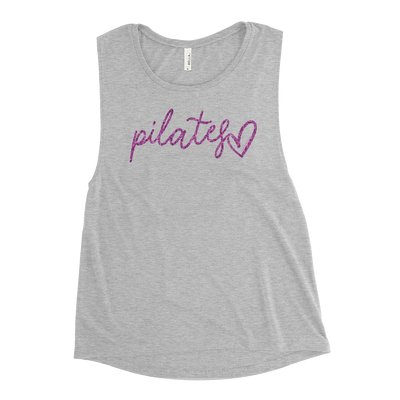 Pilates Script Heart Ladies' Muscle Tank