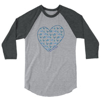 Watercolor Pilates Heart 3/4 sleeve raglan shirt