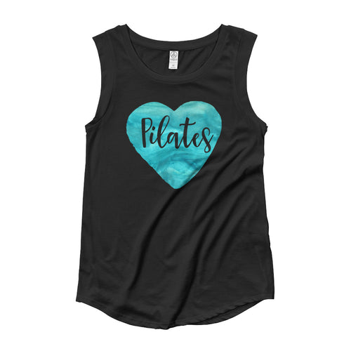 Pilates Teal Watercolor Heart Ladies' Cap Sleeve T-Shirt