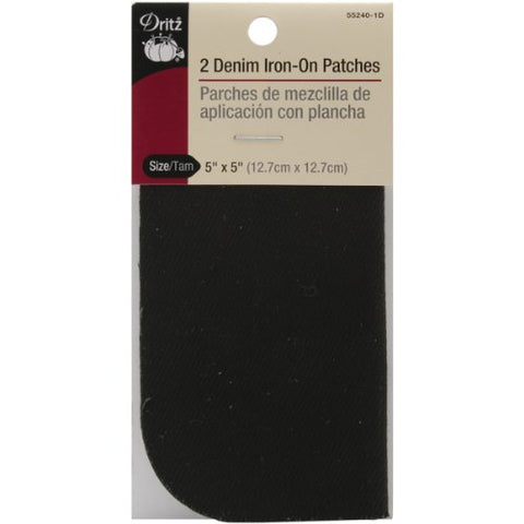 Dritz 55240-1D Denim Iron-On Patches, Black, 5 by 5-Inch, 2-Pack