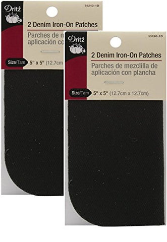 Dritz 55240-1D Denim Iron-On Patches, Black, 5 by 5-Inch, 2-Pack-(QTY-2)