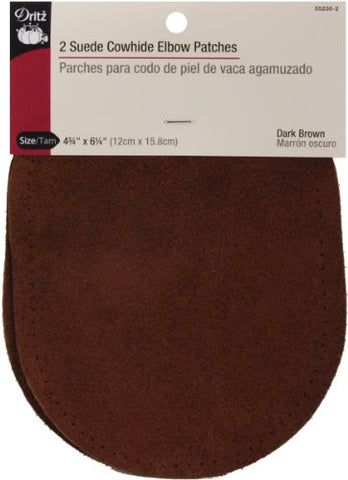 "Suede Cowhide Elbow Patches 4 3/4 "" x 6 1/4"" (2/Pkg-Dark Brown)"