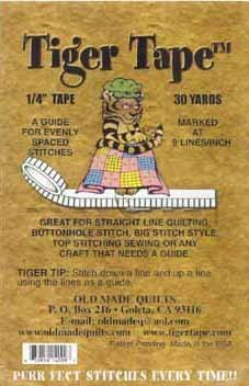 "Tiger Tape 1/4"" (.25 inch) guide for evenly spaced stitches 9 lines per inch"