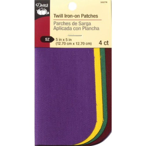 Dritz 5 by 5-Inch Iron on Twill Patches, 4-Pack, School Colors