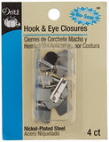Dritz No-Sew Hook & Eye 1/2 Inch 4/Pkg-Nickel