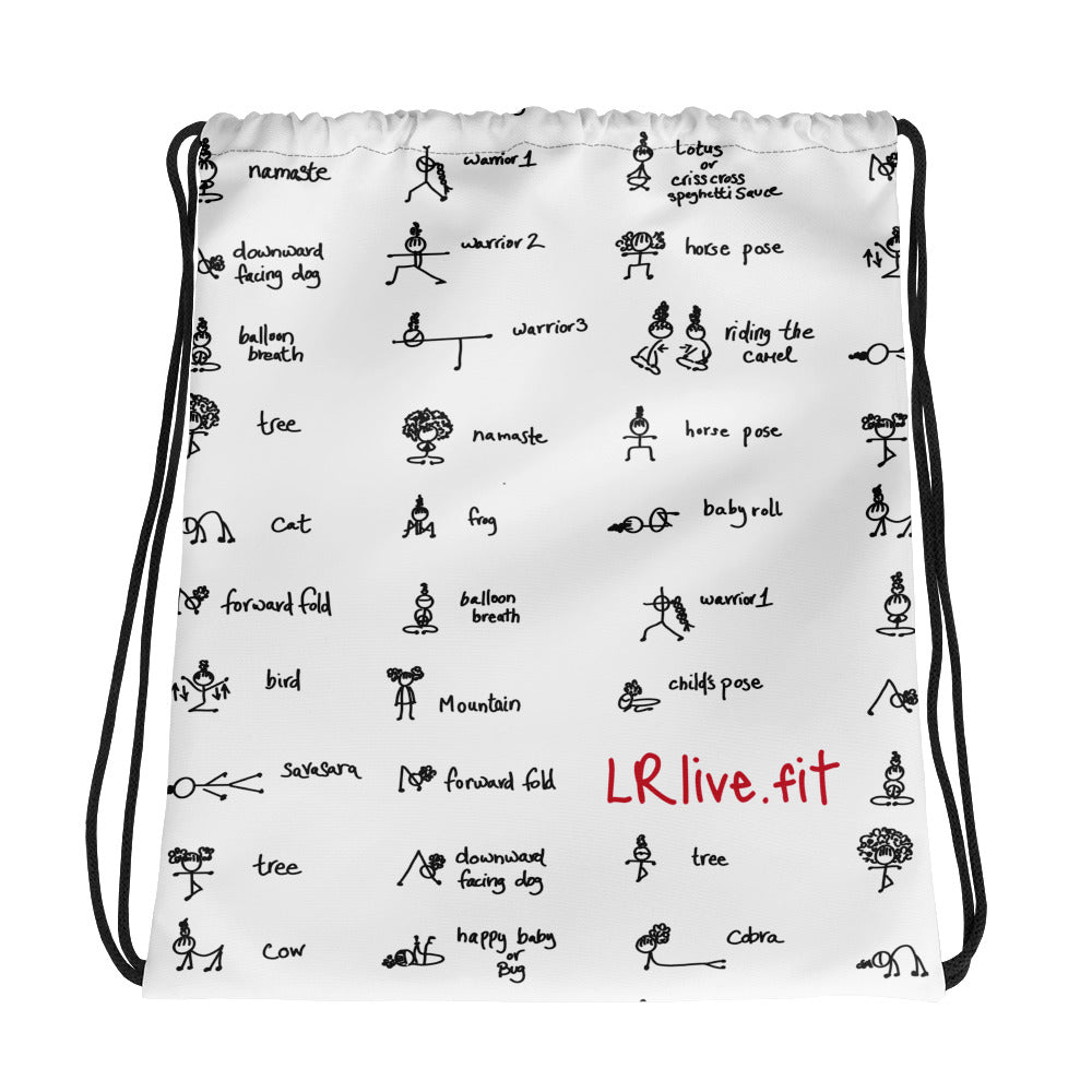 LRlive.fit Yoga poses stix-tionary  drawstring gym bag