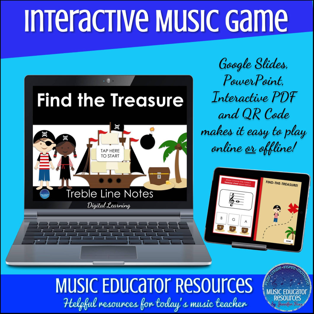 Find the Treasure | Treble Line Notes | Interactive Digital Music Game