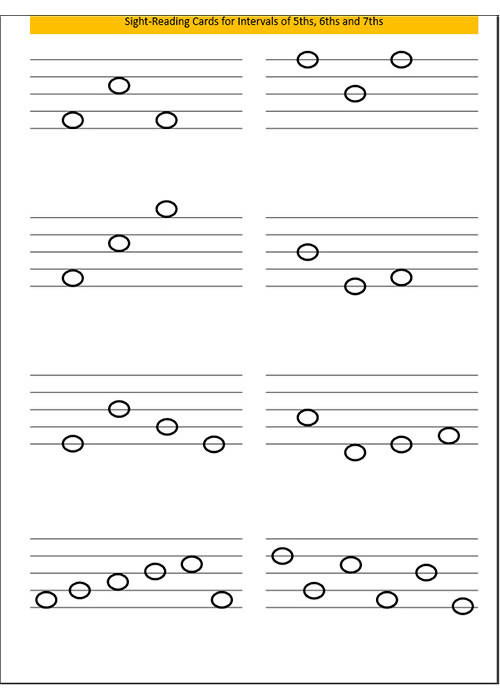 Sight-reading Cards 5ths, 6ths & 7ths