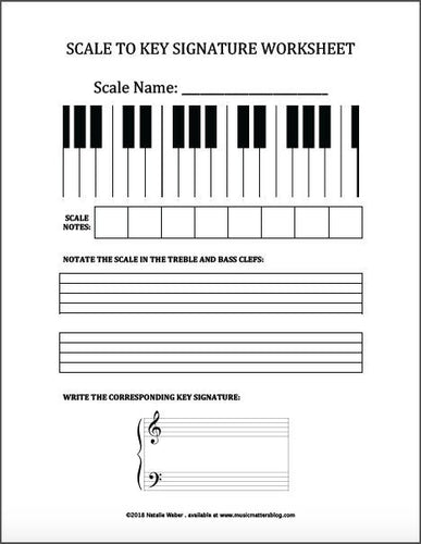 Free Scale to Key Signature Worksheet