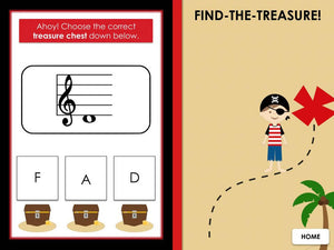 Find the Treasure | Treble Space Notes | Interactive Digital Music Game