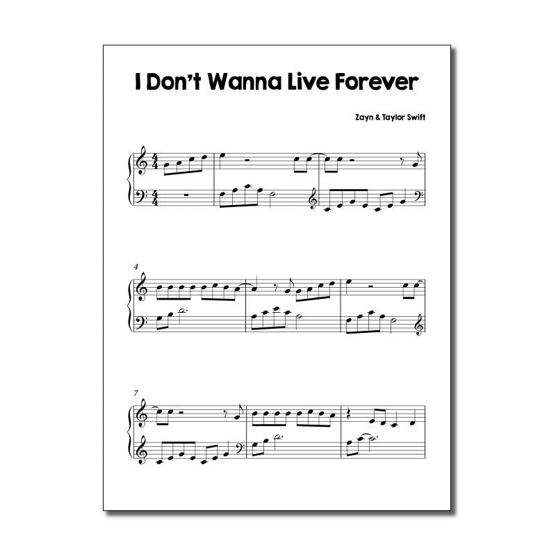 I Don't Wanna Live Forever by Taylor Swift