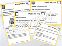 Music Lab Task Cards | Music History Edition | Editable and Digital Options