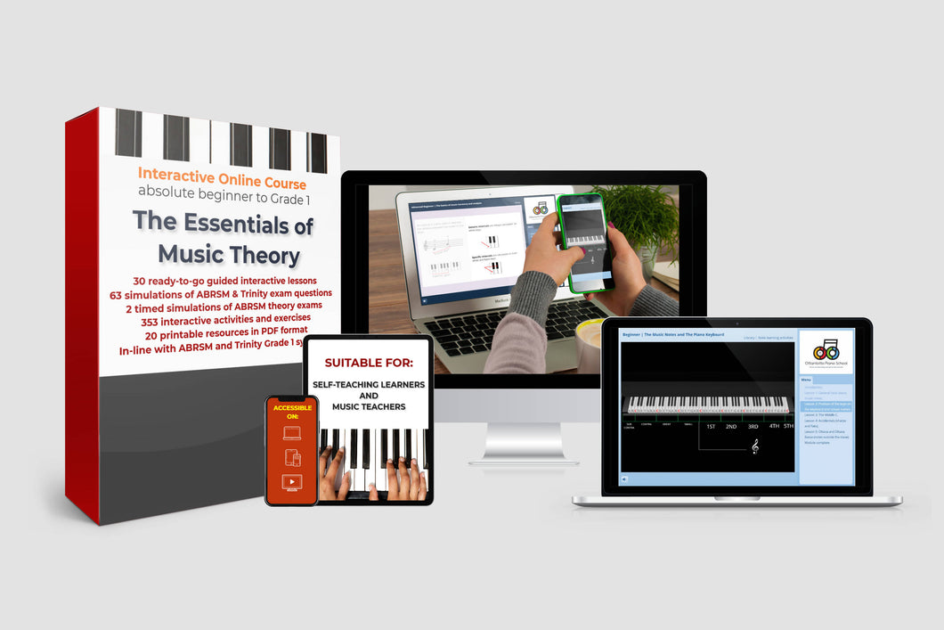 ONE STUDENT | The Essentials of Music Theory | Interactive Online Course | Absolute Beginner to Grade 1 (1-YEAR SINGLE USER LICENCE )