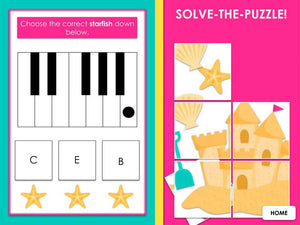 At the Beach | Piano Keyboard 1: White Keys | Interactive Digital Music Game