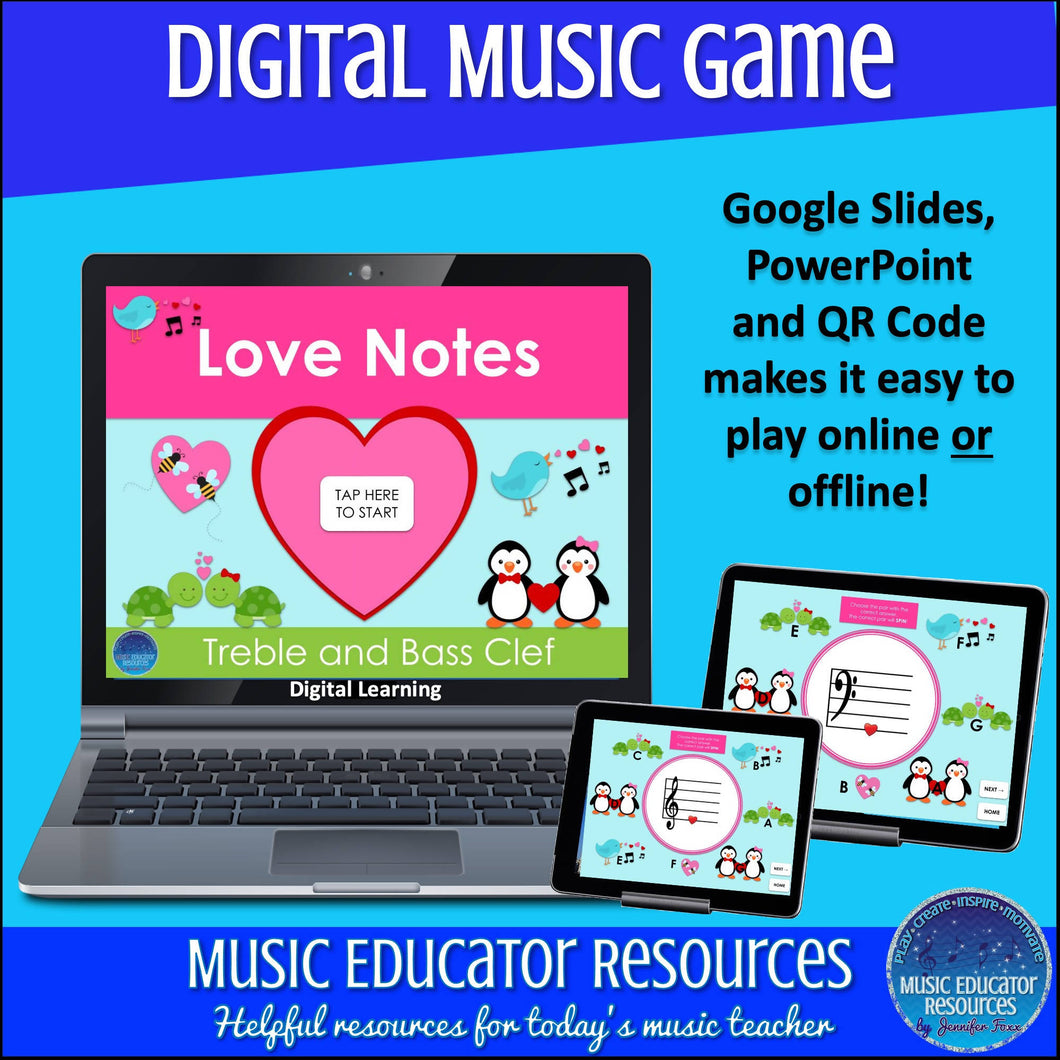 Love Notes | Treble & Bass Clef | Digital Music Game
