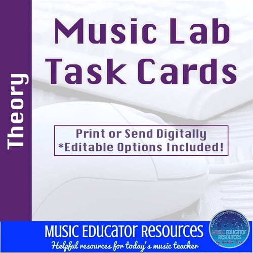 Music Lab Task Cards | Theory Edition | Editable and Digital Options