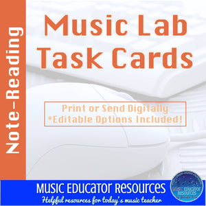 Music Lab Task Cards | Note Reading Edition | Editable and Digital Options