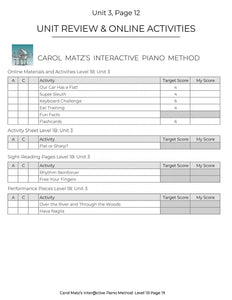 Music Theory APP MAP to Correlate with Carol Matz Interactive Piano Method 1B