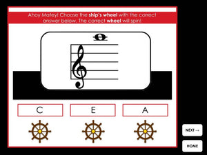 Ships Ahoy | Treble and Bass Ledger Line Notes | Interactive Digital Music Game