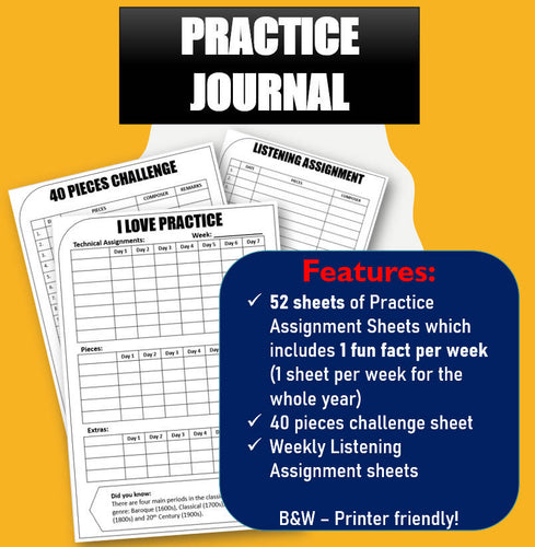 Weekly Music Practice Journal with Fun Facts!