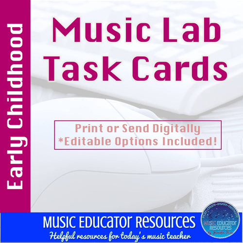 Music Lab Task Cards | Early Childhood Edition | Editable and Digital Options