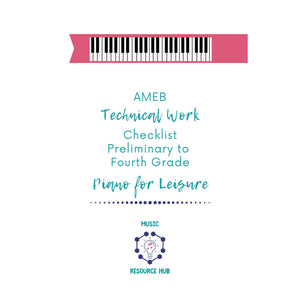 AMEB Technical Work Checklist Preliminary to Grade 4 (Piano for Leisure)