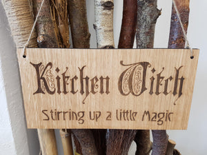 Kitchen Witch, Pagan Witch Plaque Engraved Oak