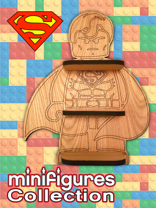 Superman Lego minifigure shelf,
